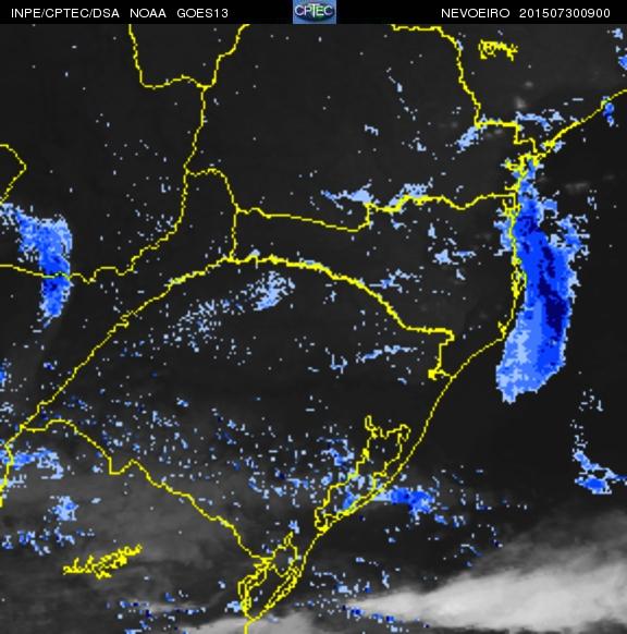 Imagem do satélite GOES 13/NOAA/EUA – Canal do Infravermelho + realce – dia 30/07/2015 – Hora local: 06:00 – Sul do Brasil.