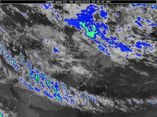 Imagem do satélite GOES 13/NOAA/EUA – Canal do Infravermelho + realce – dia 01/12/2015 – Hora local: 06:45 – Sul do Brasil.