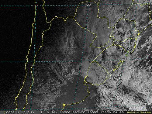 Imagem do satélite GOES 13/NOAA/EUA – Canal do Visível – dia 06/01/2016 – Hora local: 07:40 – Sul do Brasil.