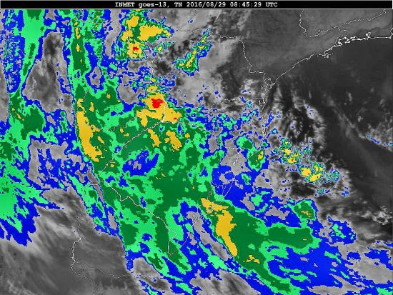 Imagem do satélite GOES 13/NOAA/EUA – Canal do Infravermelho + realce – dia 29/08/2016 – Hora local: 05:45 – Sul do Brasil. Fonte: Instituto Nacional de Meteorologia (INMET) modificado por LabClima/UNIVALI.
