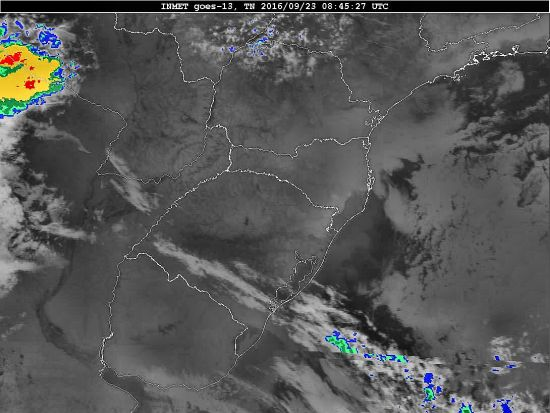 Imagem do satélite GOES 13/NOAA/EUA – Canal do Infravermelho + realce – dia 23/09/2016 – Hora local: 05:45 – Sul do Brasil. Fonte: Instituto Nacional de Meteorologia (INMET) modificado por LabClima/UNIVALI.